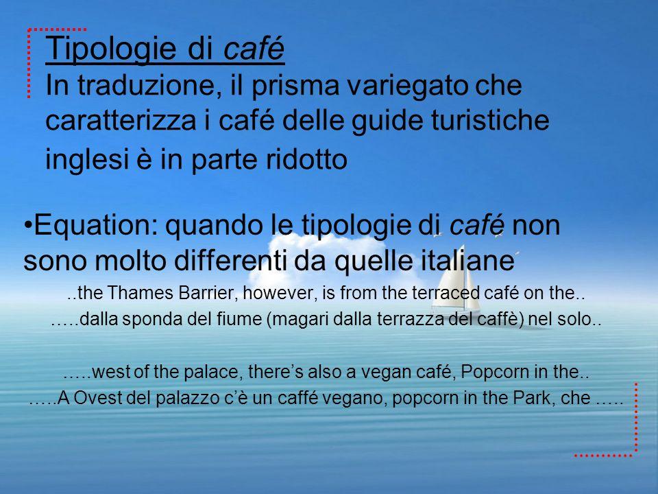 Tipologie di café In traduzione, il prisma variegato che caratterizza i café delle guide turistiche inglesi è in parte ridotto