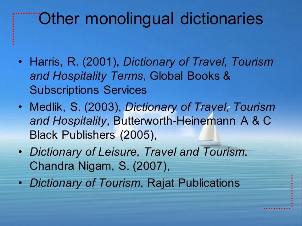 Other monolingual dictionaries