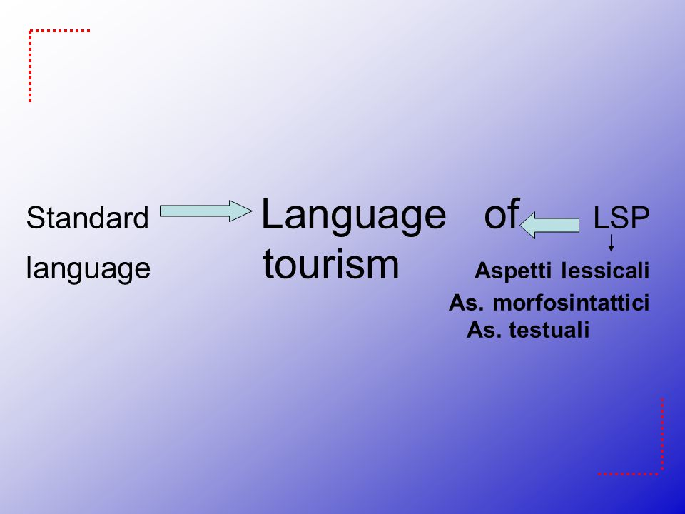 Standard Language of LSP language tourism Aspetti lessicali As