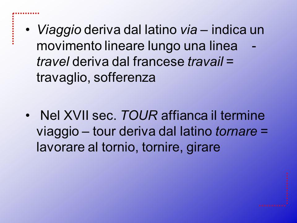 Viaggio deriva dal latino via – indica un movimento lineare lungo una linea - travel deriva dal francese travail = travaglio, sofferenza
