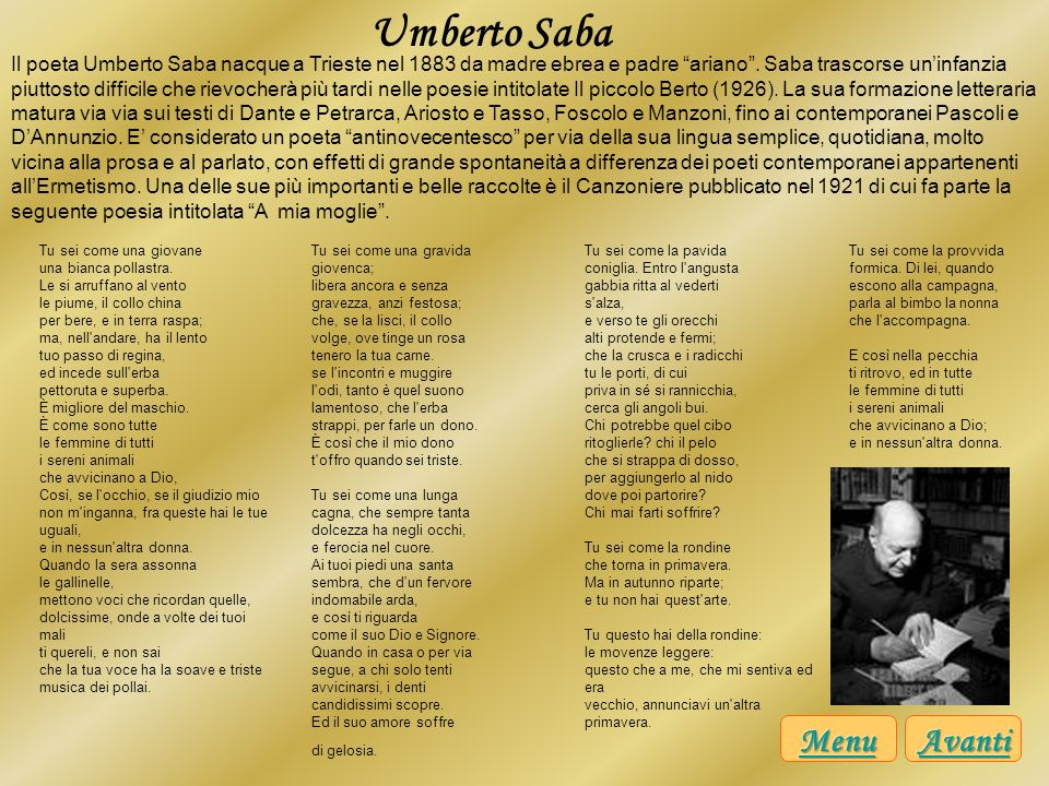 Umberto Saba Menu Avanti