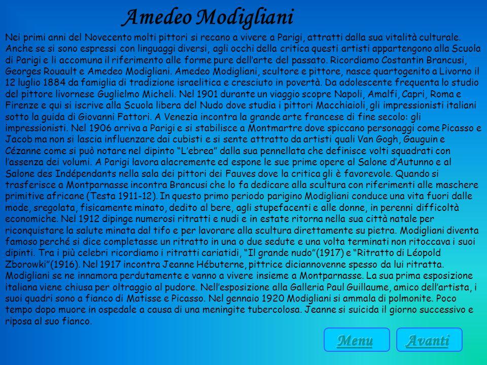 Amedeo Modigliani Menu Avanti