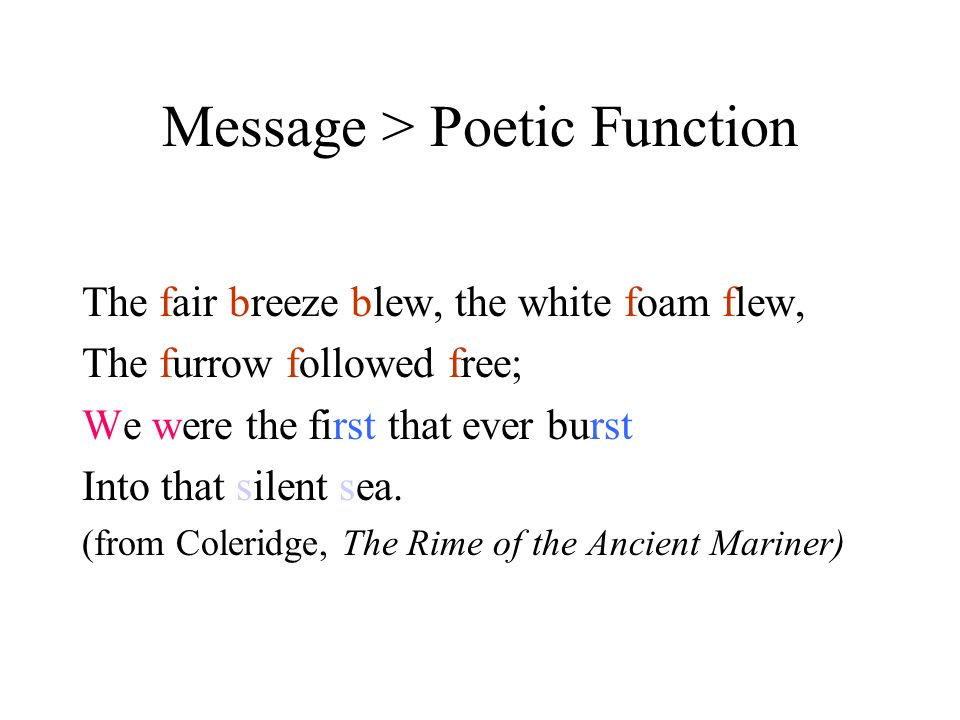 Message > Poetic Function