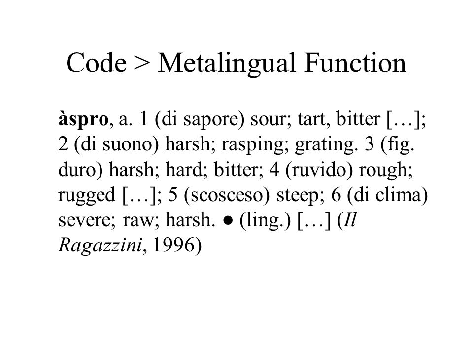 Code > Metalingual Function