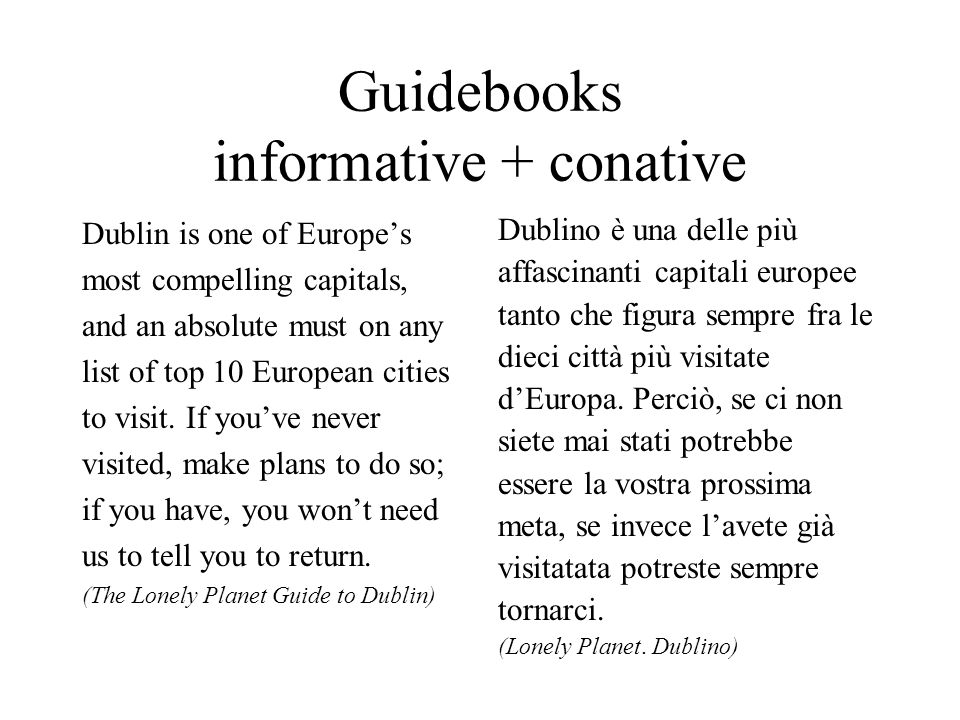 Guidebooks informative + conative