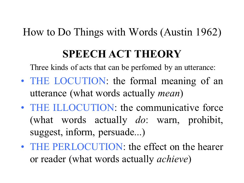 How to Do Things with Words (Austin 1962)
