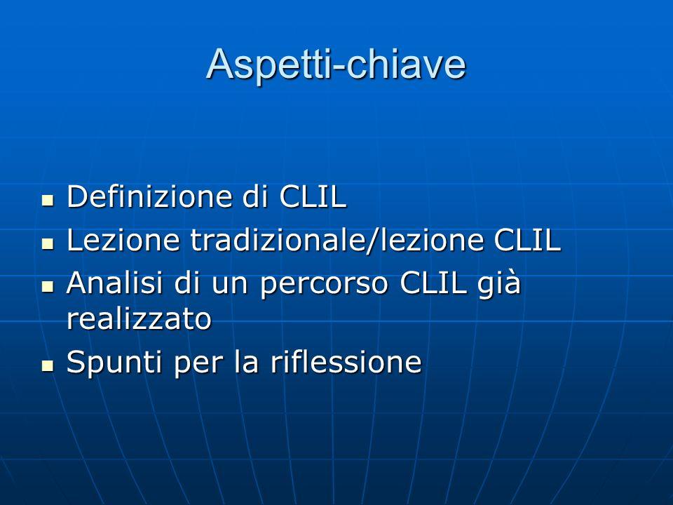 Aspetti-chiave Definizione di CLIL Lezione tradizionale/lezione CLIL