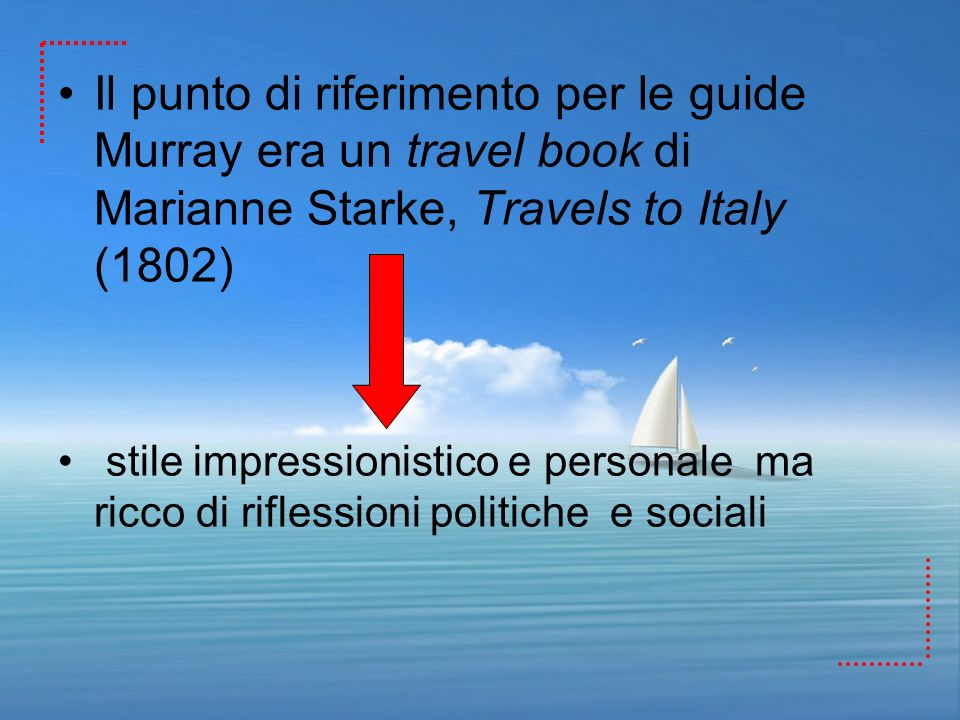 Il punto di riferimento per le guide Murray era un travel book di Marianne Starke, Travels to Italy (1802)