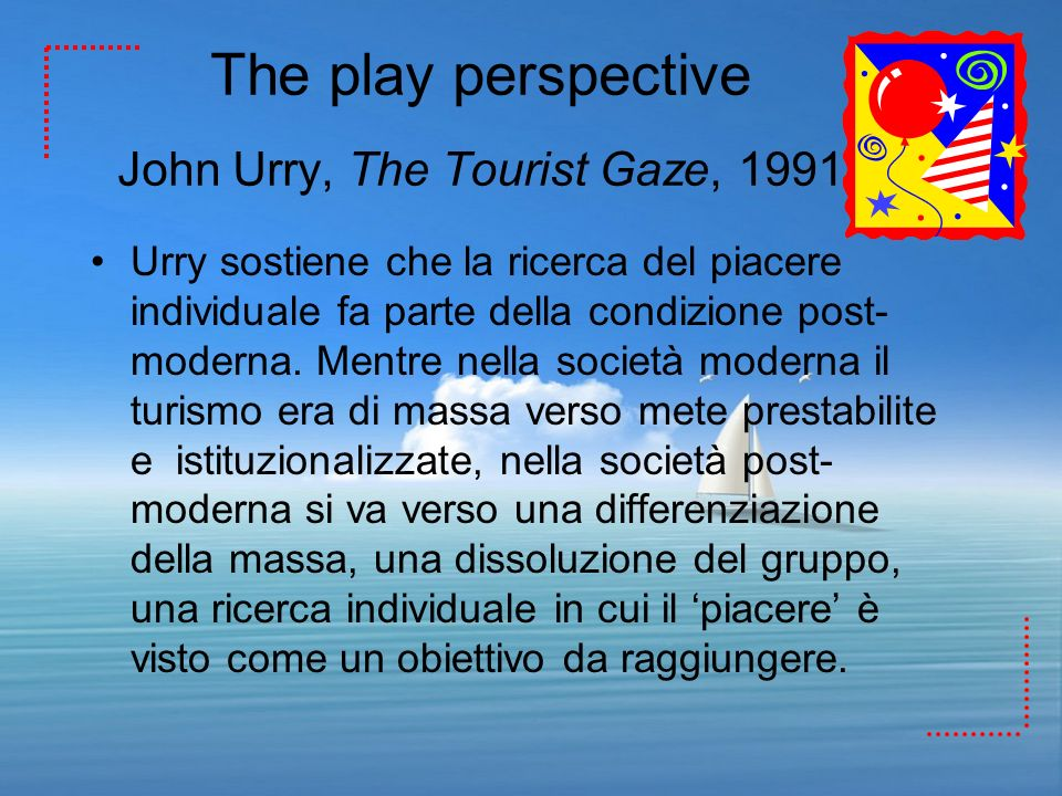 The play perspective John Urry, The Tourist Gaze, 1991