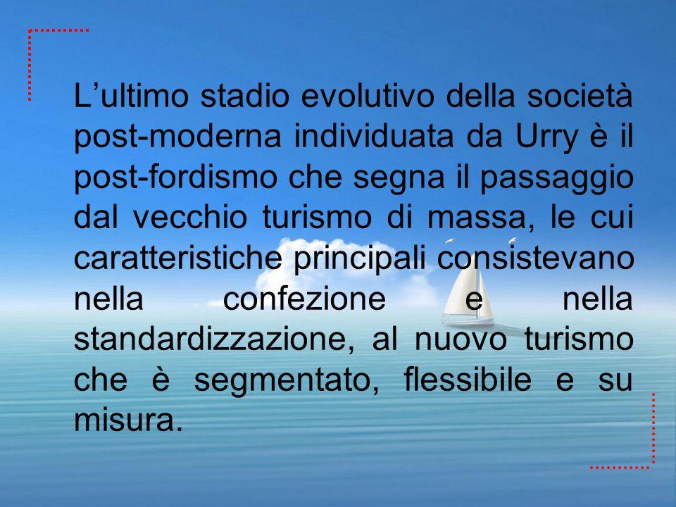 L'ultimo stadio evolutivo della società post-moderna individuata da Urry è il post-fordismo che segna il passaggio dal vecchio turismo di massa, le cui caratteristiche principali consistevano nella confezione e nella standardizzazione, al nuovo turismo che è segmentato, flessibile e su misura.
