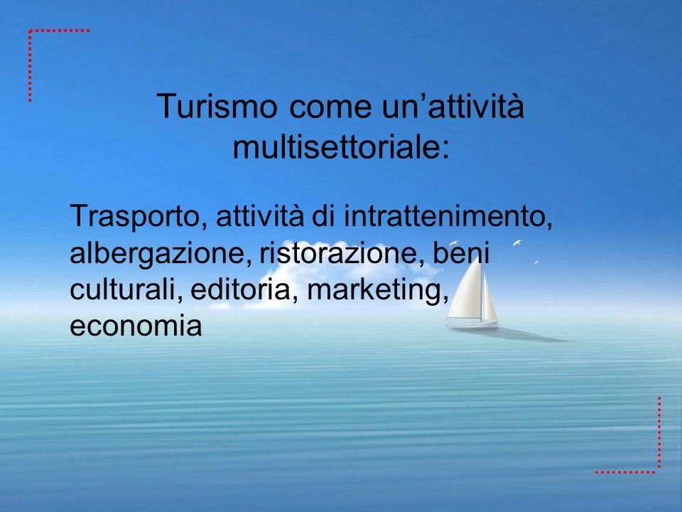 Turismo come un'attività multisettoriale: