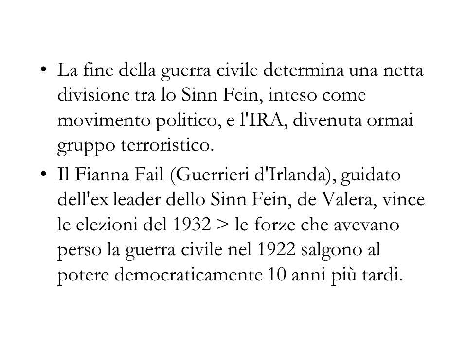 La fine della guerra civile determina una netta divisione tra lo Sinn Fein, inteso come movimento politico, e l IRA, divenuta ormai gruppo terroristico.