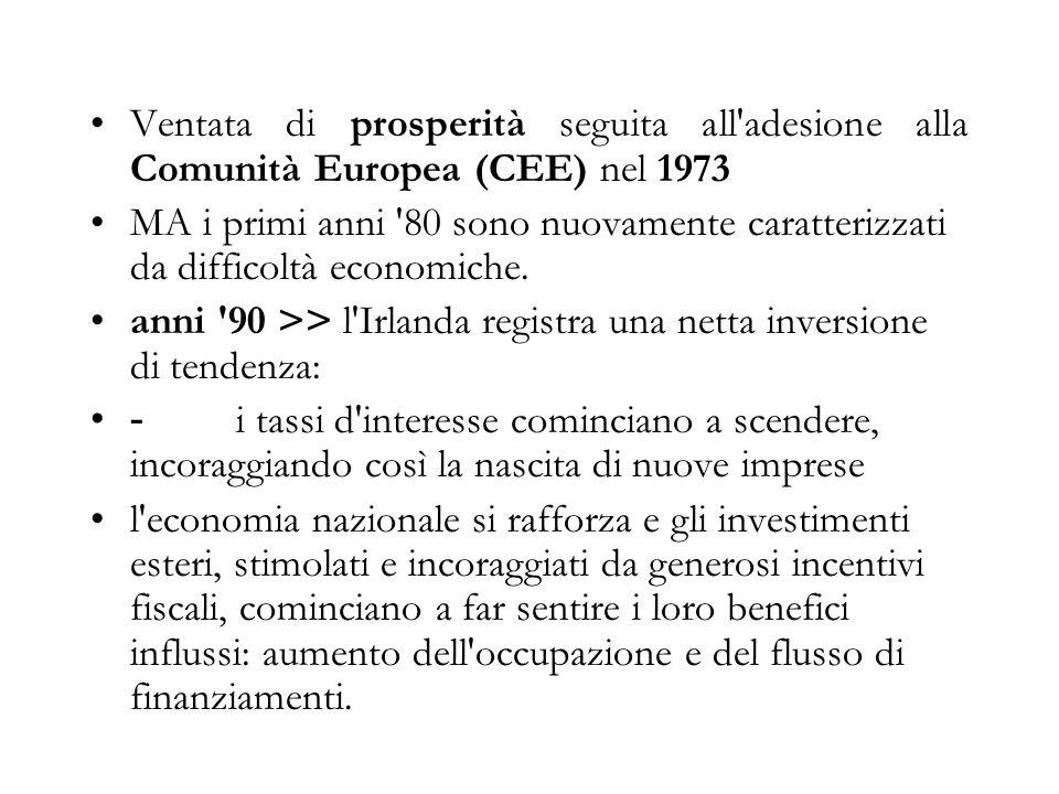 Ventata di prosperità seguita all adesione alla Comunità Europea (CEE) nel 1973