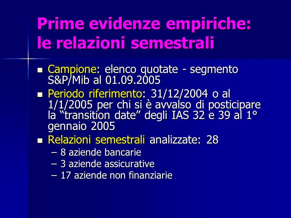 Prime evidenze empiriche: le relazioni semestrali