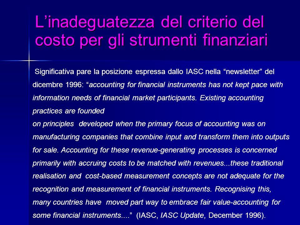 L'inadeguatezza del criterio del costo per gli strumenti finanziari