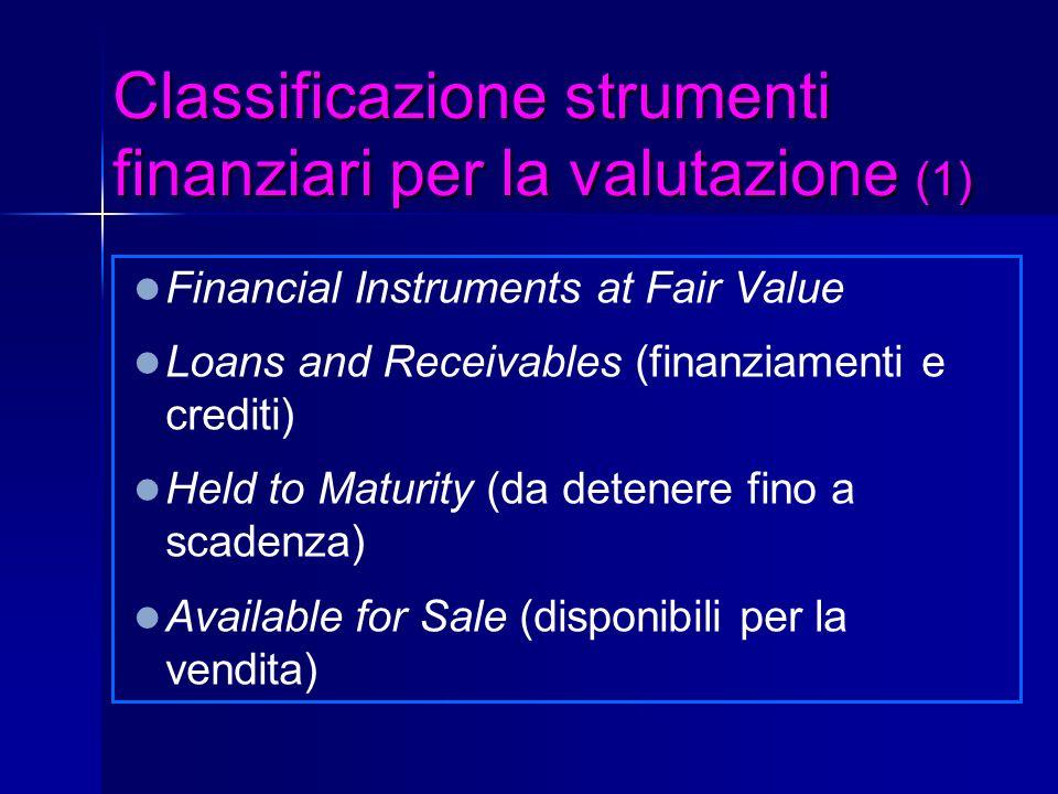 Classificazione strumenti finanziari per la valutazione (1)