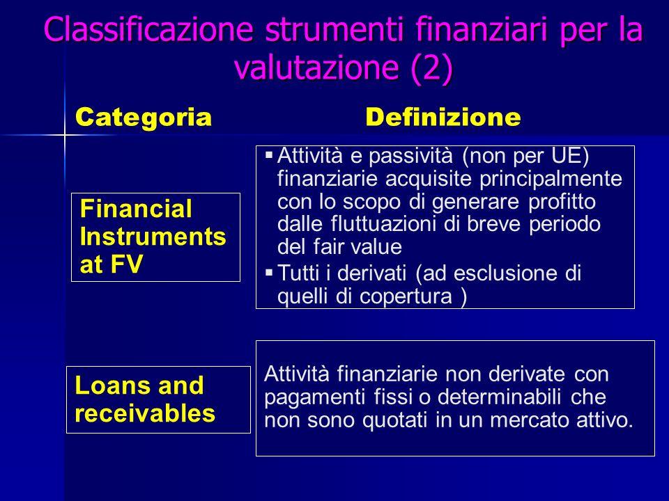 Classificazione strumenti finanziari per la valutazione (2)
