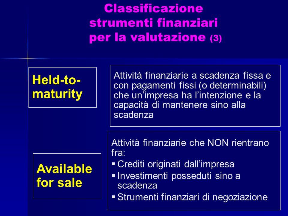 Classificazione strumenti finanziari