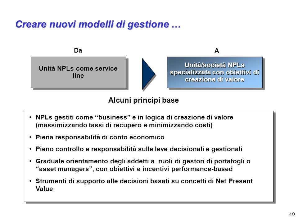 Creare nuovi modelli di gestione …