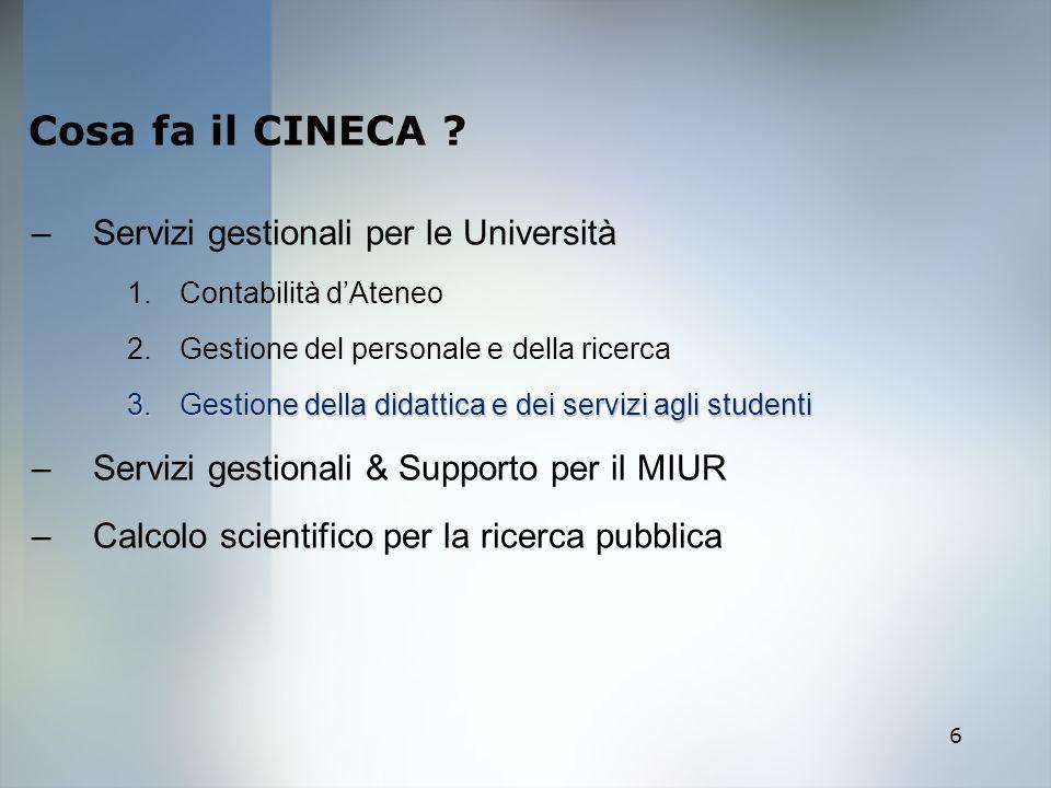 Cosa fa il CINECA Servizi gestionali per le Università
