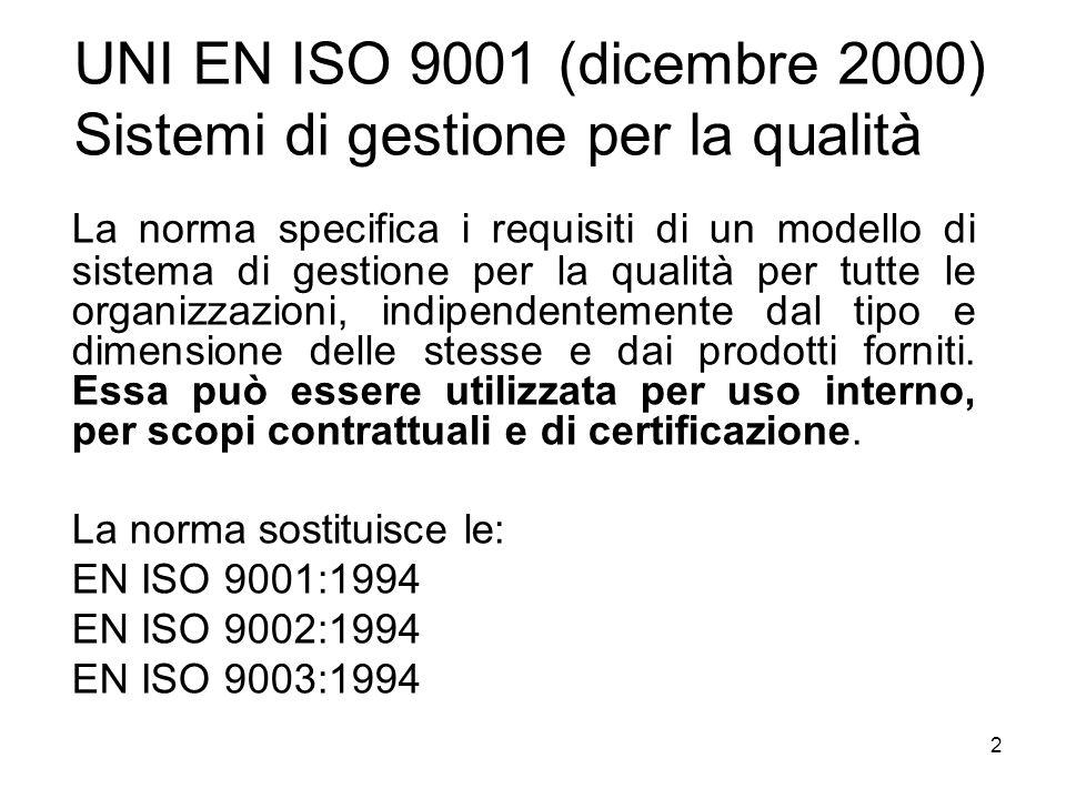 UNI EN ISO 9001 (dicembre 2000) Sistemi di gestione per la qualità