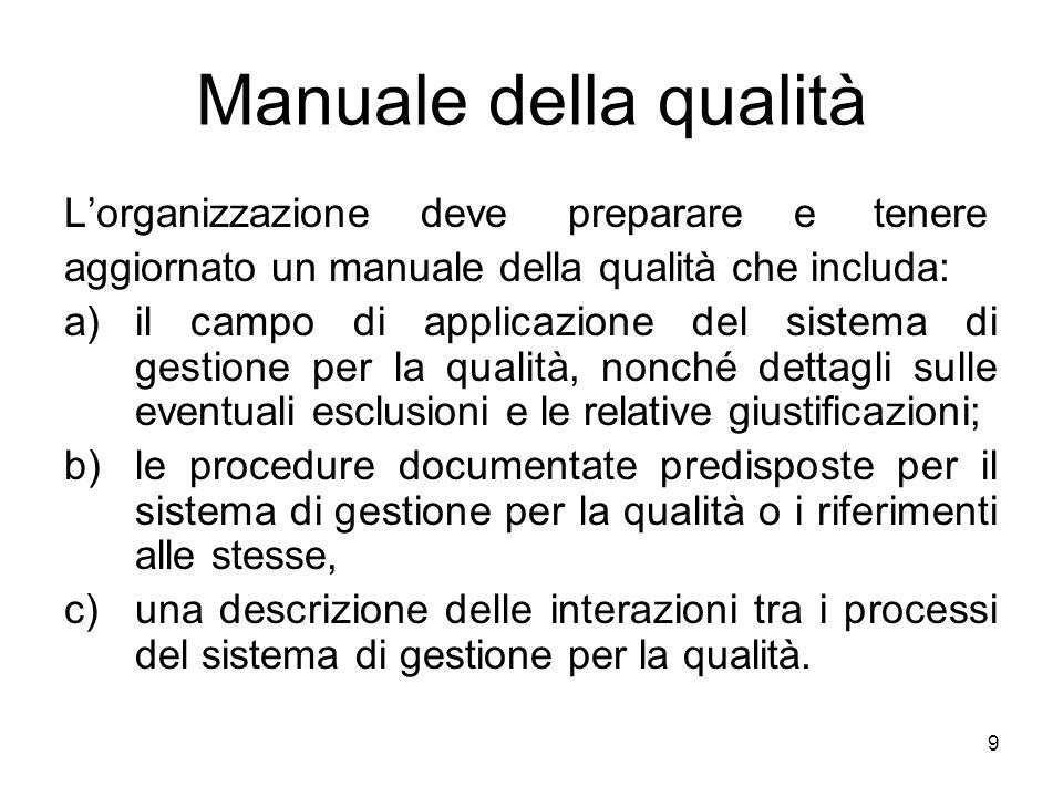 Manuale della qualità L'organizzazione deve preparare e tenere