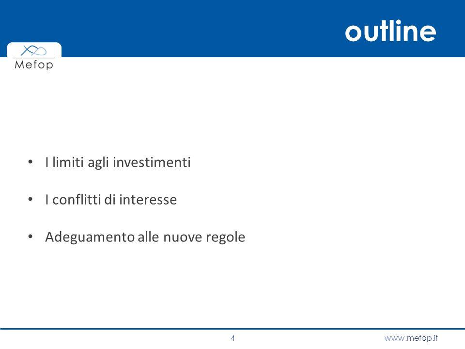 outline I limiti agli investimenti I conflitti di interesse