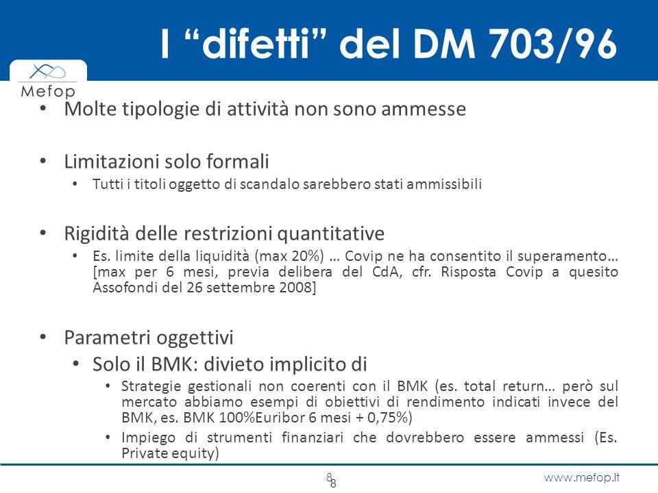 I difetti del DM 703/96 Molte tipologie di attività non sono ammesse