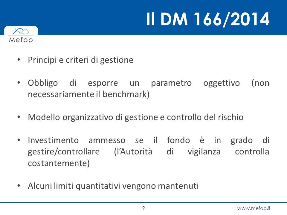 Il DM 166/2014 Principi e criteri di gestione