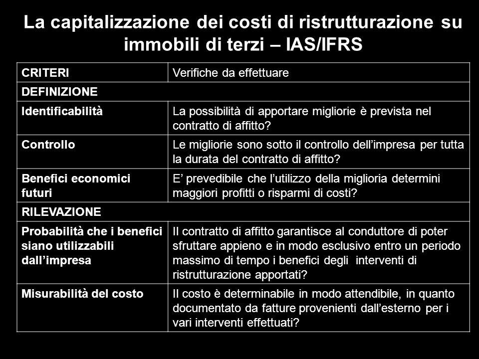 La capitalizzazione dei costi di ristrutturazione su immobili di terzi – IAS/IFRS