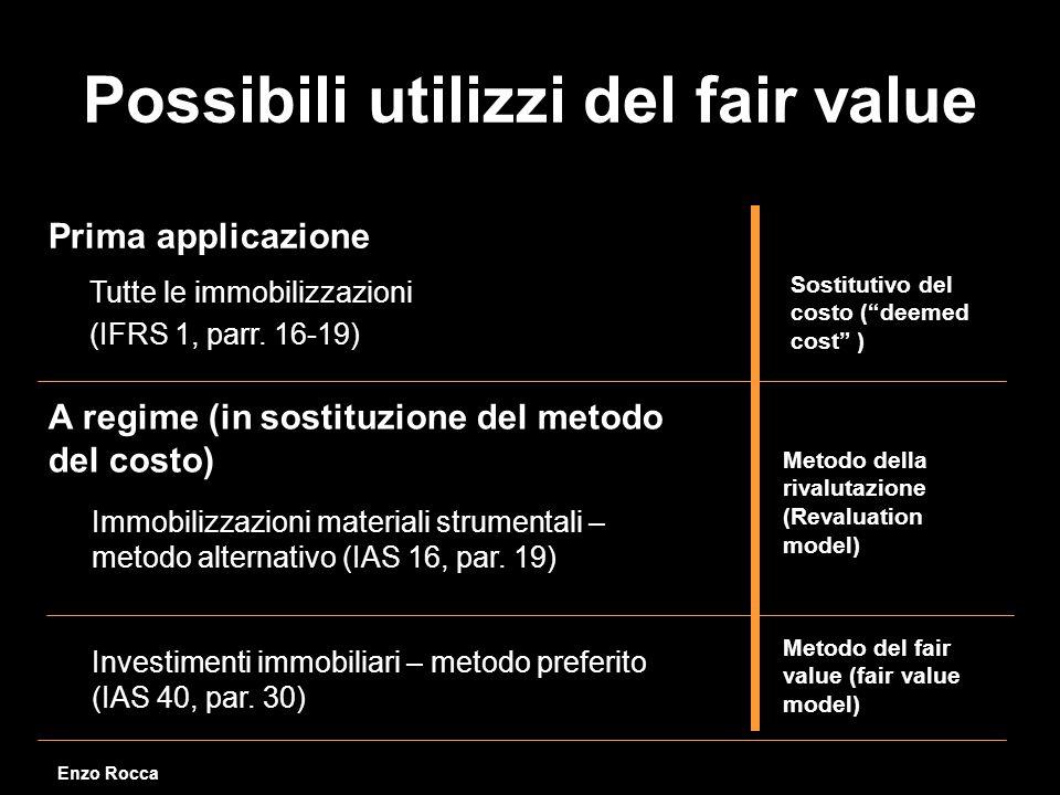 Possibili utilizzi del fair value