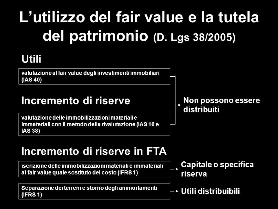 L'utilizzo del fair value e la tutela del patrimonio (D. Lgs 38/2005)