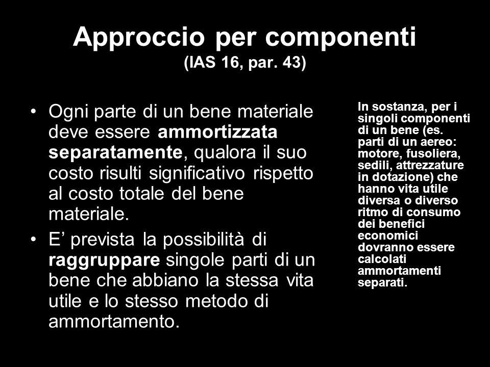 Approccio per componenti (IAS 16, par. 43)