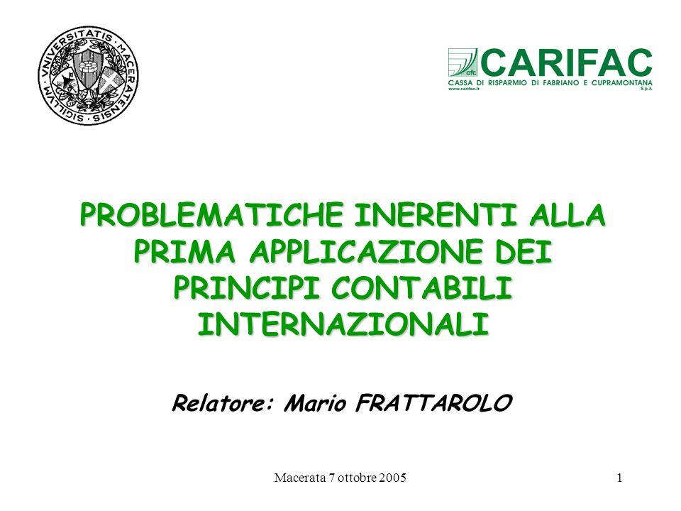 Relatore: Mario FRATTAROLO