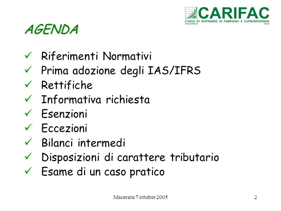 AGENDA Riferimenti Normativi Prima adozione degli IAS/IFRS Rettifiche