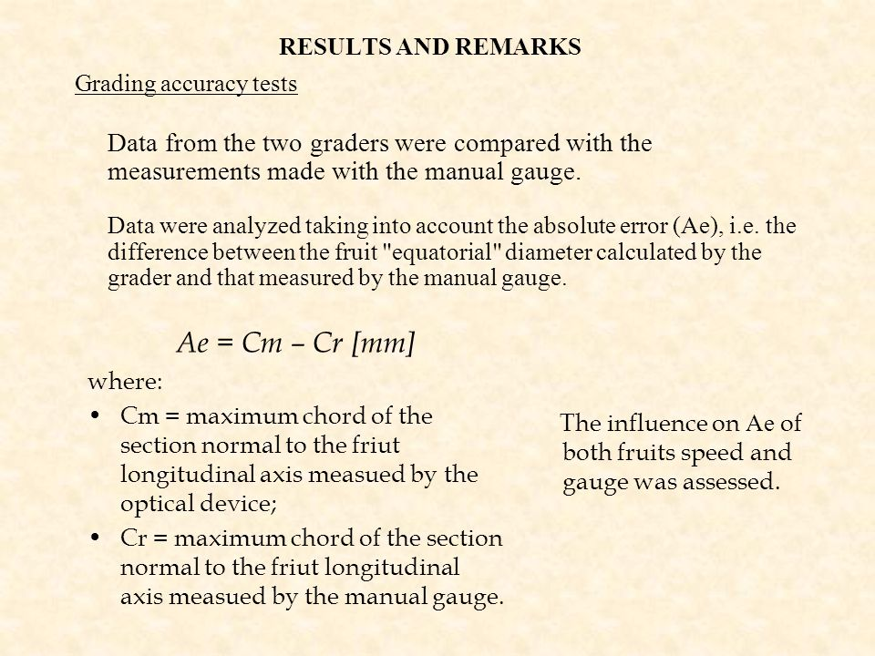 RESULTS AND REMARKS Grading accuracy tests. Data from the two graders were compared with the measurements made with the manual gauge.