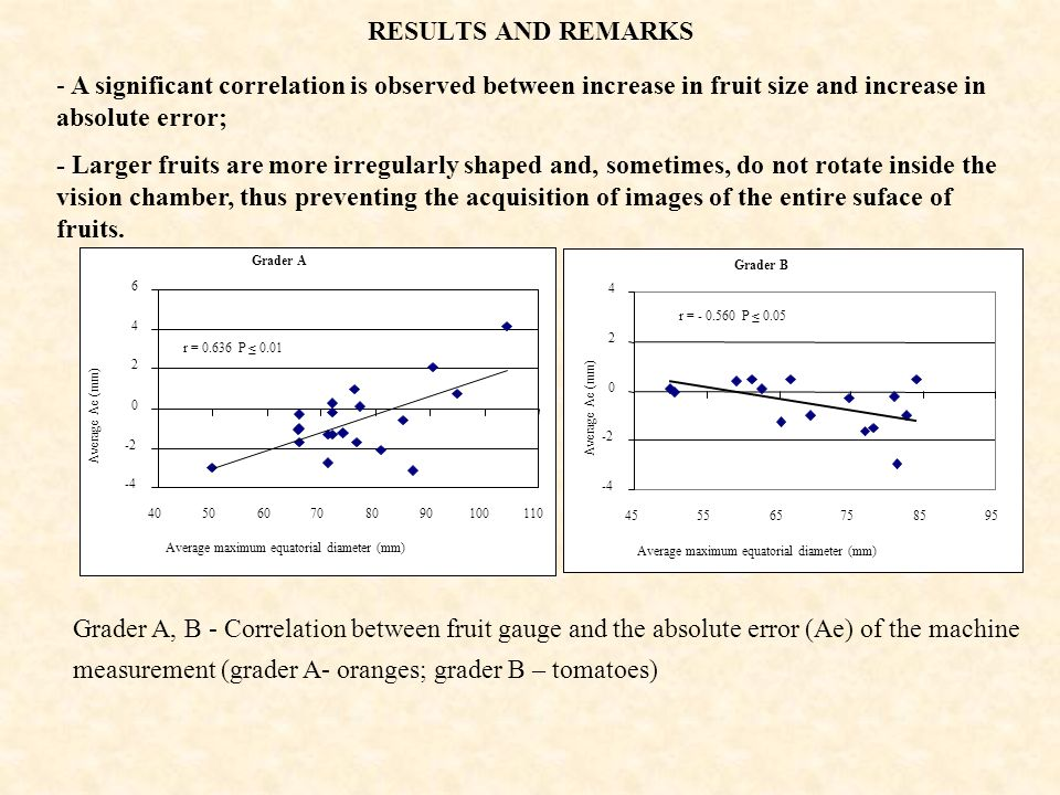RESULTS AND REMARKS A significant correlation is observed between increase in fruit size and increase in absolute error;