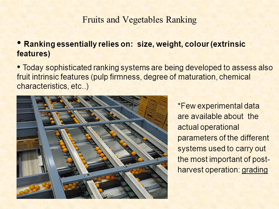 Fruits and Vegetables Ranking
