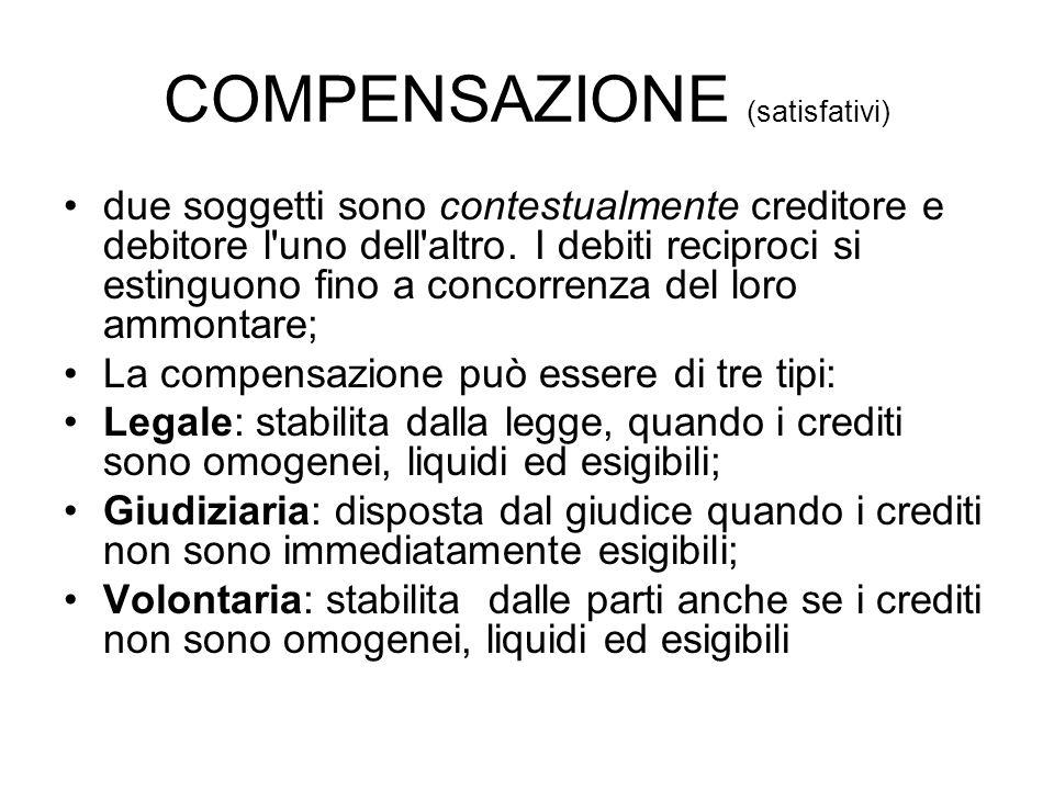 COMPENSAZIONE (satisfativi)