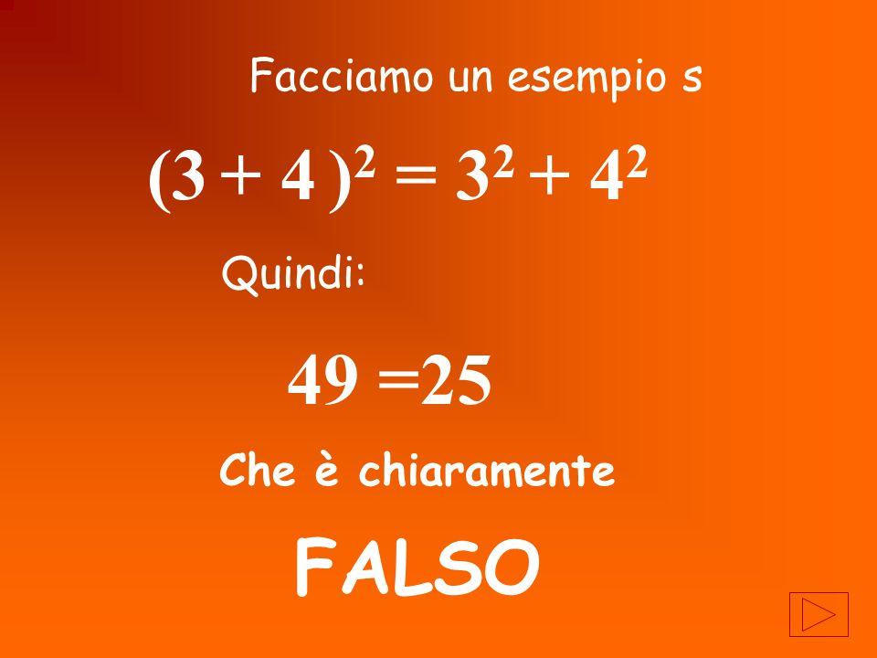 (3 + 4 )2 = 32 + 42 49 =25 FALSO Facciamo un esempio s Quindi: