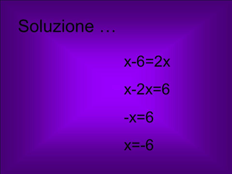 Soluzione … x-6=2x x-2x=6 -x=6 x=-6