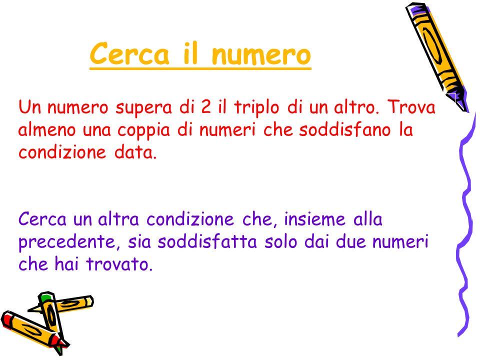 Cerca il numero Un numero supera di 2 il triplo di un altro. Trova almeno una coppia di numeri che soddisfano la condizione data.