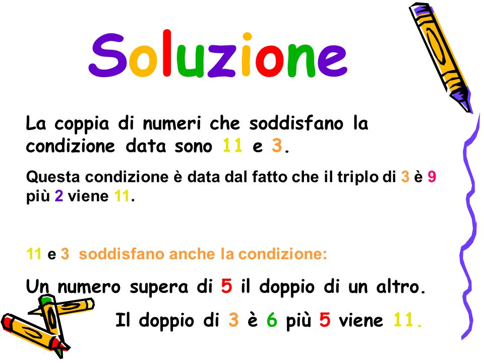 Soluzione La coppia di numeri che soddisfano la condizione data sono 11 e 3.