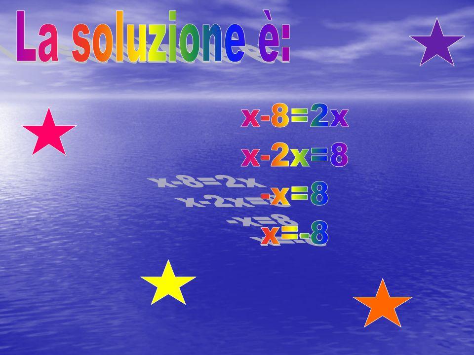 La soluzione è: x-8=2x x-2x=8 -x=8 x=-8