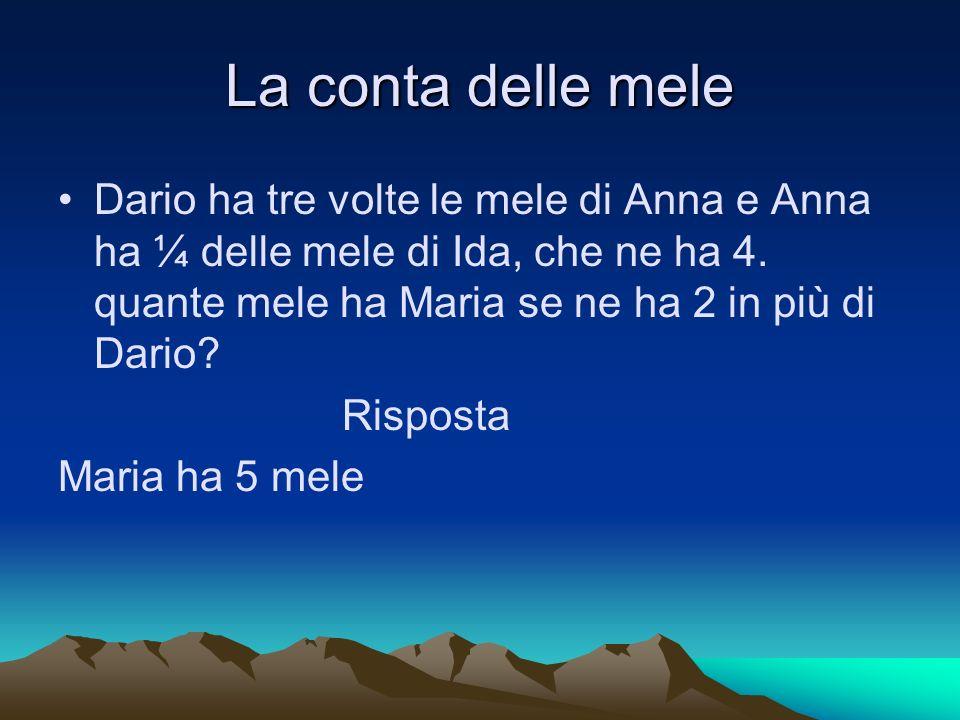 La conta delle mele Dario ha tre volte le mele di Anna e Anna ha ¼ delle mele di Ida, che ne ha 4. quante mele ha Maria se ne ha 2 in più di Dario