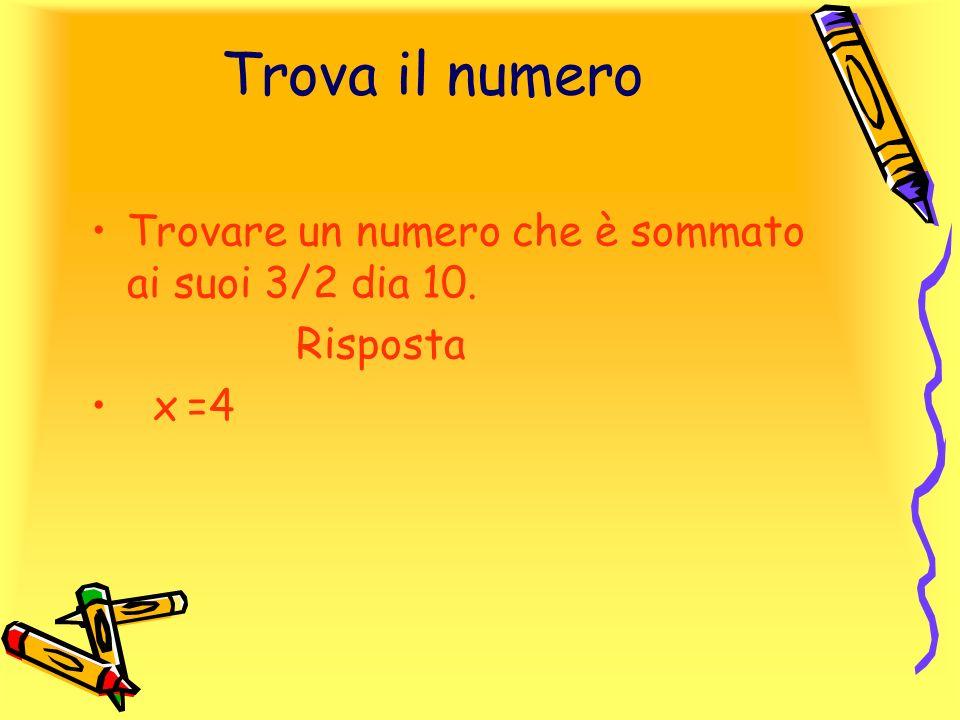 Trova il numero Trovare un numero che è sommato ai suoi 3/2 dia 10.