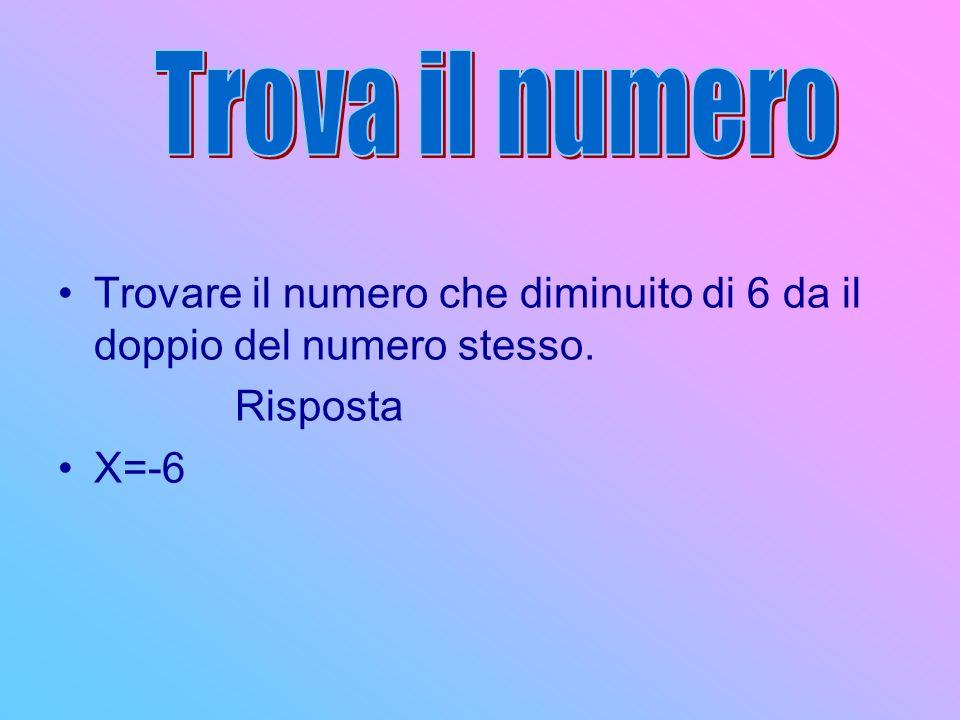 Trova il numero Trovare il numero che diminuito di 6 da il doppio del numero stesso. Risposta X=-6
