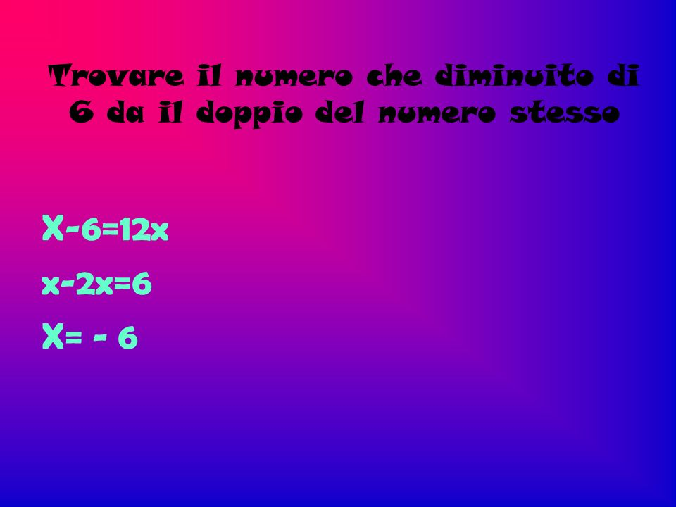 Trovare il numero che diminuito di 6 da il doppio del numero stesso