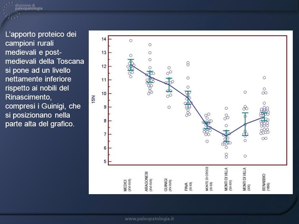 L'apporto proteico dei campioni rurali medievali e post-medievali della Toscana si pone ad un livello nettamente inferiore rispetto ai nobili del Rinascimento,