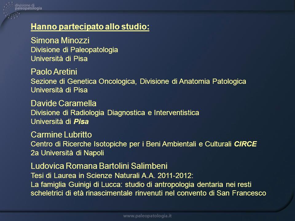 Hanno partecipato allo studio: Simona Minozzi